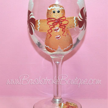 Hand Painted Wine Glass - Gingerbread - Original Designs by Cathy Kraemer