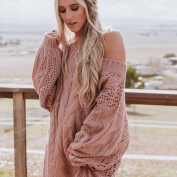 Golden Hour Oversize Bubble Sleeve Sweater Dress - Mauve