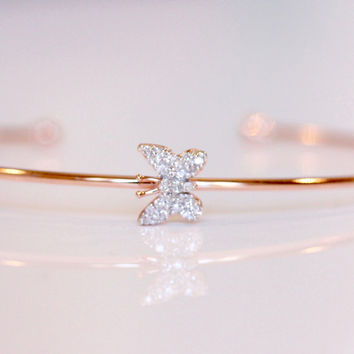 Little New Life Butterfly Bangle - Rose Gold