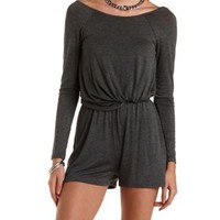 Knotted Jersey Knit Romper by Charlotte Russe - Charcoal Heather
