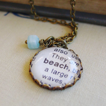 Beach Necklace - Vintage Dictionary Word Charm  by PearlieGirl