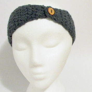 Adjustable Gray Grey Crocheted With Wood Button Headband Earwarmer, Crochet Headbands, Earwarmers Oxford Dark Gray