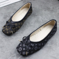Louis Vuitton LV New fashion casual bow print shoes single shoes two color