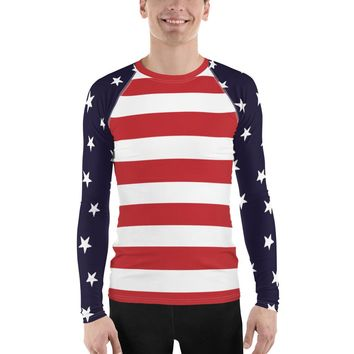 Stars and Bars Men's Rash Guard Swim Shirt