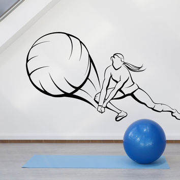 Vinyl Wall Decal Sport Beach Volleyball Ball Girl Player Woman Stickers Unique Gift (1301ig)