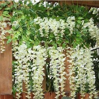 "40"" Long Artificail Silk White Wisteria Flower Vine Wedding Home Plant Decor Set of 10"