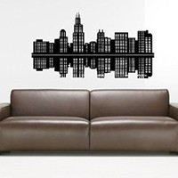 Chicago Skyline City Sights Wall Sticker Decal 2367