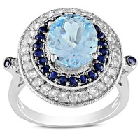Diamore Sky Blue Topaz, Black and White Sapphire Fashion Ring in Silver