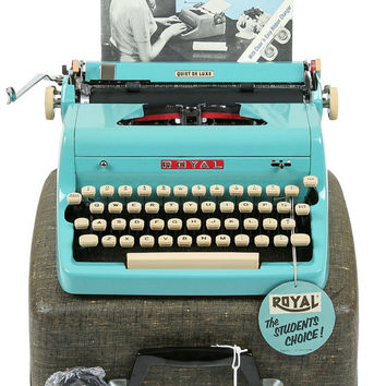 MINT 1957 Turquoise Royal Quiet De Luxe Typewriter / Original Case, Key and Manual / Professionally Serviced / Near Perfect Condition
