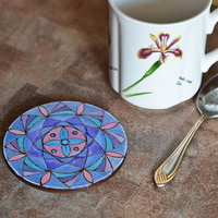Woodburned and Hand painted Mandala Coaster - OOAK Wooden Mandala Art - Zen Handmade - Eco Friendly Yoga Gift