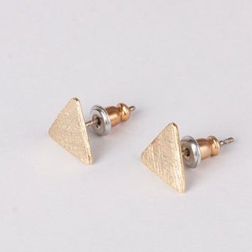 textured triangle earrings gold silver post gift gir her women earrings boho chic minimalist silver stud