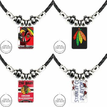 Black Leather Bead Pendant Plated Glass Cabochon Choker Pendant Necklace For Women Party Gift Nhl Ice Hockey Chicago Blackhawks