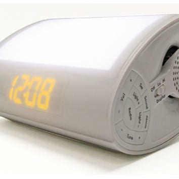 Wake-Up Light Alarm Clock Radio with Soothing Sounds @ Sharper Image