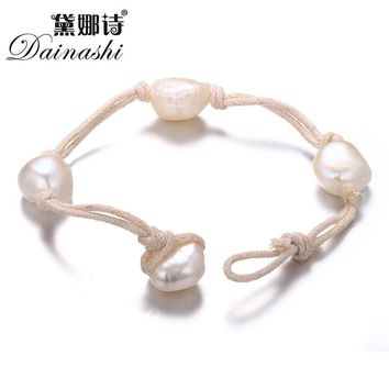 Dainashi 2017 new arrival natural baroque pearl bracelets jewelry chain leather for women Wedding Wristband Jewellery