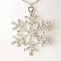 Ice Crystal Clear Rhinestone Christmas Winter Snowflake Holiday Pendant Necklace