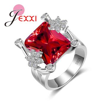 JEXXI Delicate Square Red Crystal Ring White Zircon Flower Jewelry Women Elegant Wedding Bridal Gift 925 Sterling Silver CZ Ring