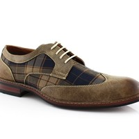 Ferro Aldo 19266A Mens Lace Up Plaid Oxford Dress Classic Shoes
