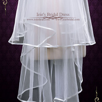 Two Tier Fingertip Veil Veil With Satin Edges, Wedding Veil, Bridal Veil, Short Wedding Veil, Blusher Veil | VG1079