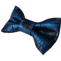 Leather Hand painted Bow Tie Blue Dickie Bow Bowtie Real Leather Necktie Wedding Groomsmen Man Men Lady Gift BowTie4You