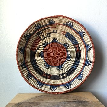"Blue & Rust African Basket 13"" - 15"""