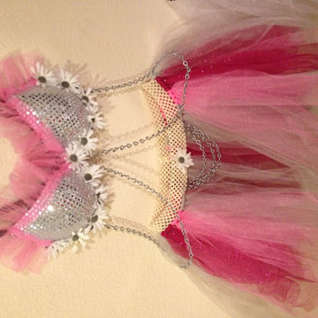 Cotton Candy Rave Bra TuTu pink silver red grey