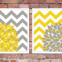 "Flower Bursts with Chevron Zig Zags Modern Home Wall Art - Set of (2) 11"" x 14"" -  Yellow and Grey // Bedroom, Living Room, Bathroom Decor"