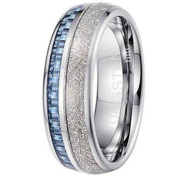 CERTIFIED 8mm Tiitc Rings Tungsten Carbide Meteorite with Blue Carbon Fiber Wedding Engagement Band