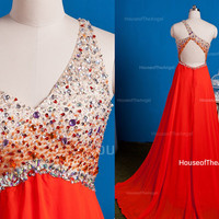 One-shoulder beading long evening dress long formal dresses long prom dress V-neck prom dress