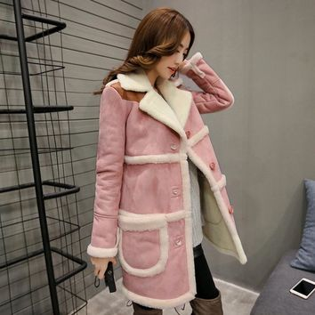 2017 Winter Woman Patchwork Shearling Coats Faux Suede Leather Jackets Loose Slim Coat Long Faux Lambs Wool Coat S-XL W1131
