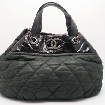 Chanel Quilting Lambskin Leather Shoulder Tote Bag Green/ Black 4029