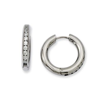 3mm Titanium Cubic Zirconia Hinged Round Hoop Earrings, 20mm (3/4 in)