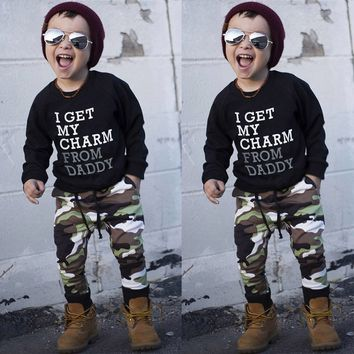 Toddler Kids Baby Boy Letter T shirt Tops+Camouflage Pants Outfits Clothes Set Trendy Gifts