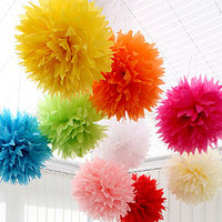 Pack Of Four Spiked Tissue Paper Pom Poms