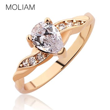 White 6 MOLIAM Fashion Jewlery Ring Water Drop Crystal Rings 18K Gold Plated Statement Rings For Women Full Sizes R030