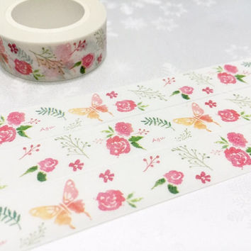 Rose butterfly Washi Masking tape 10M pink rose flower garden washi tape blossom flower garden planner sticker rose gift decor scrapbook