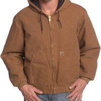 Carhartt Men's Big & Tall Sandstone Duck Active Jacket - Quilted Flannel Lined