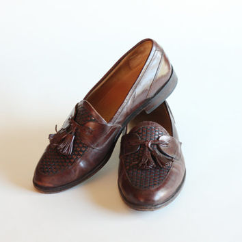 Size 11 Johnston and Murphy Leather Tassel Loafers Made in Italy