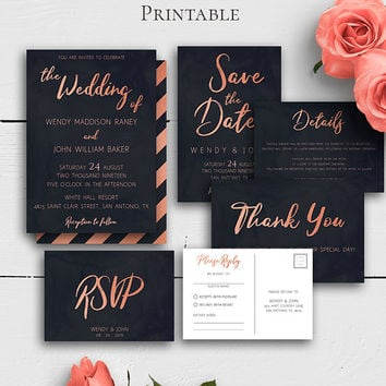 Rose Gold Wedding Invitation Suite, Navy Blue, Invitation Template, Rose Gold Invites, Details Card,Save the Date,RSVP Card,Personalized Set