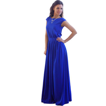 High Waist Pleated Floor Length Royal Blue Elegant Evening Party Wear Casual Maxi Women Summer Long Dress