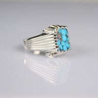 Turquoise Ring Sterling Silver Genuine Gemstone Size 9.75 (Re-sizing is available for free)