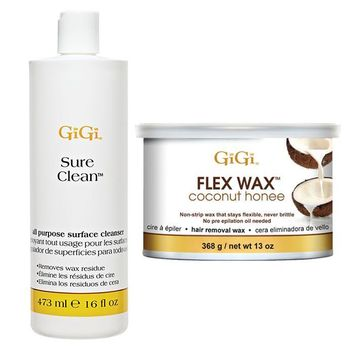 GiGi Sure Clean All Purpose Surface Cleanser 16 oz + Flex Wax Coconut Honee 13 oz