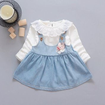 2017 Autumn baby Party Birthday girls kids Children lace neck Long Sleeve denim overall dresses, princess infant Dress C004