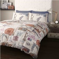 SUPERB TWIN RETRO PLACES CITIES BIKES CARS COTTON RED DUVET SET QUILT COVER