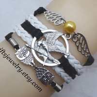 Hunger inspired games jewelry,catching fire jewelry,Mockingjay pin bracelet,wings bracelet,arrow bracelet,owl bracelet,hipster jewelry