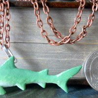 OOAK Shark Charm Necklace, Nautical Jewelry, Sea Life Necklace, Ocean Charm, Miniature Shark