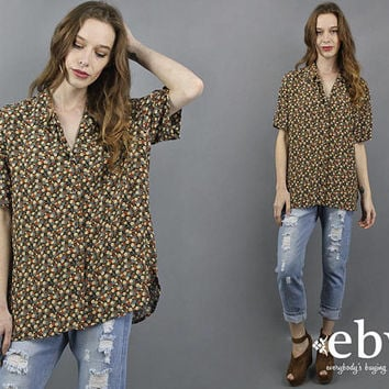 90s Blouse 90s Shirt Oversized Blouse Oversized Top Oversized Shirt 1990s Blouse 90s Floral Blouse 90s Tunic Button Up Blouse 90s Grunge