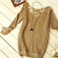 Hollow Knitting Sweater copper