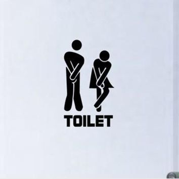 Funny Toilet Entrance Sign Decal Vinyl Sticker For Shop Office Home Cafe Hotel FREE SHIPPING 341