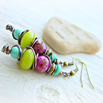 Boho Hippie Earrings - Boho Earrings - Hippie Earrings - Boho Jewelry - Boho Pink Earrings - Tribal Earrings - Ethnic Earrings