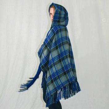 Blanket Shawl with Hood. Royal Blue & Gray Plaid on one side with Gray Chevron Pattern on Reversible Inside.